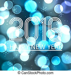 happy new year 2016 on blue bokeh circle background eps10