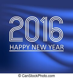 happy new year 2016 on blue wave color background eps10