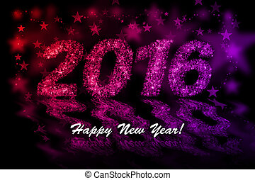 Happy New Year 2016. Red and purple stars background with bokeh effect
