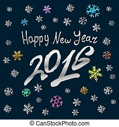 Happy New Year 2016 silver  card, background
