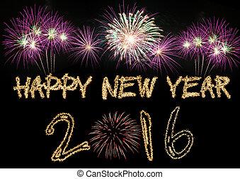 Happy New Year 2016 sparklers firework