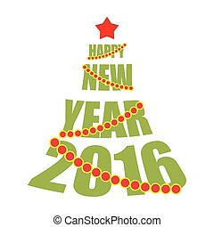 Happy new year 2016. Tree from text. Red Star and Christmas tree Garland.