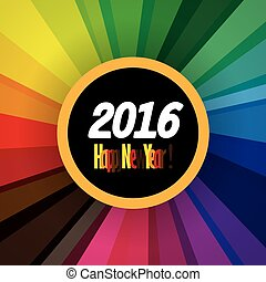 happy new year 2016 vector design icon on colorful background