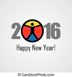 happy new year 2016 vector design icon with a person