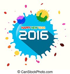 Happy New Year 2016 Vector with Splashes