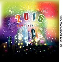 happy new year 2016 with fireworks