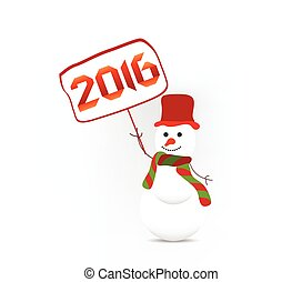 Happy new year 2016 with snowman