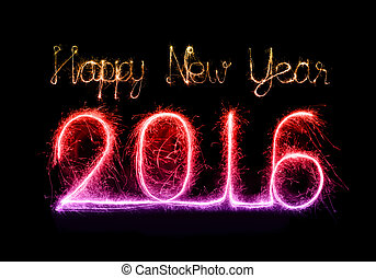 Happy new year 2016 with Sparkle firework