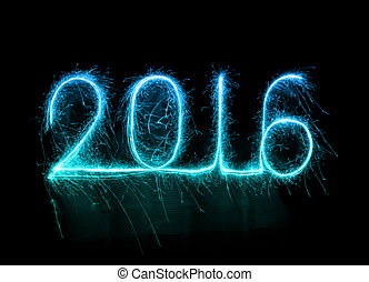 Happy new year 2016 written with Sparkle firework at night