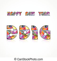 Happy New Year 2016.Colorful greeting card design. Vector illustration for holiday design. Party poster, greeting card