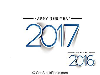 Happy new year 2017 & 2016 Text Design vector
