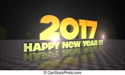 Happy New Year 2017 3D Gold Text