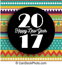 Happy New year 2017 abstract color art card design