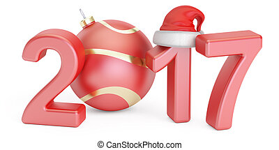 Happy New Year 2017 and Marry Christmas concept, 3D rendering
