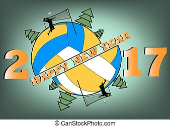 Happy new year 2017 and  Volleyball