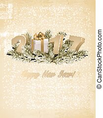 Happy New Year 2017 background with a gift box. Vector.