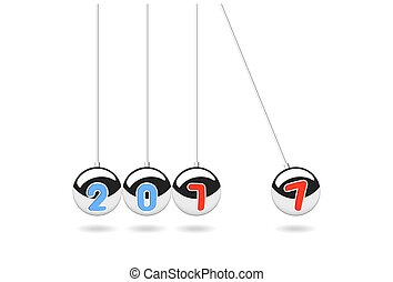 Happy new year 2017, Balancing Balls, Pendulum balls vector illustration