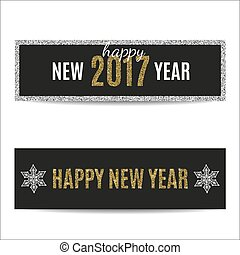 Happy New Year 2017 banners golden text and silver snowflakes
