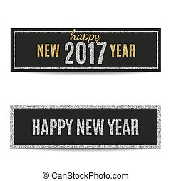 Happy New Year 2017 banners silver and golden text