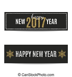 Happy New Year 2017 banners silver text and golden snowflakes