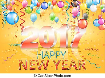 happy new year 2017 bright yellow greeting card with 3d glossy numbers and balloons vector template