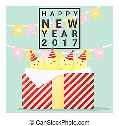 happy new year 2017 card with chicken