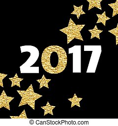 Happy New Year 2017 card with gold star on black background.