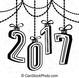 Happy New Year 2017 celebration background with 3d text effect and garland