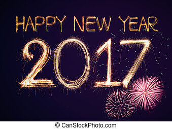 2017 - Happy New Year 2017 celebration fireworks background