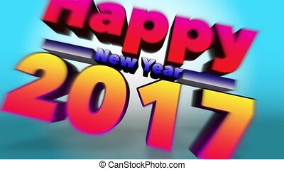 Happy New Year 2017 Colourful 3D Motion Background
