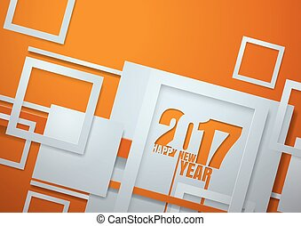 Happy New Year 2017 Cut from Paper Background