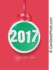 Happy New Year 2017 Cut Paper on Pink Background
