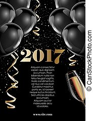 Happy new year 2017 fancy gold champagne and black hot air...