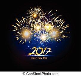 Happy New Year 2017 gold Firework