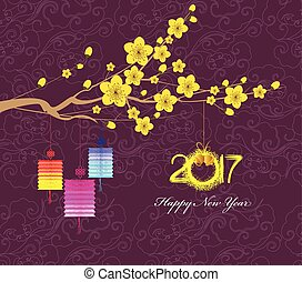 Happy New Year 2017 greeting card. Chinese New Year of the...
