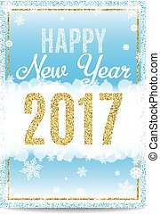 Happy New Year 2017 greeting card golden text and snowflakes