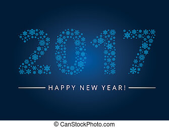 Happy New Year 2017 greeting card. Snowflake background