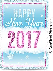 Happy New Year 2017 greeting card pink text and snowflakes