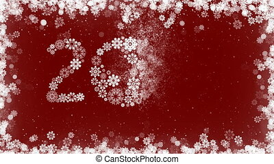 Happy New Year 2017 Greeting Card Red Background with Border of Snowflakes.