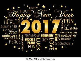 Happy New year 2017 greeting card - tagcloud