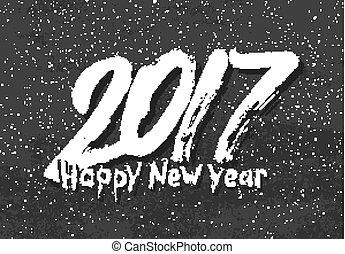 Happy New Year 2017 greetings on black chalkboard