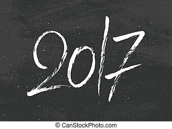Happy New Year 2017 greetings on black chalkboard