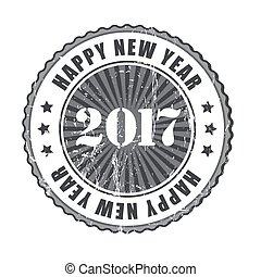 Happy New Year 2017 grunge rubber stamp.