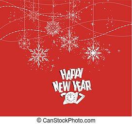 happy new year, 2017, hodiny, a, sněžit
