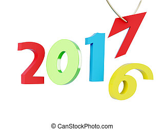 Happy new year 2017 isolated on white background. 3d rendering