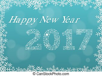 Happy new year 2017 light blue card with snowflake frame and year 2017 made of white snowflakes