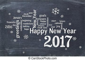Happy New Year 2017 on blackboard
