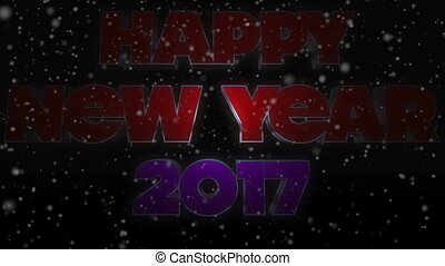 Happy New Year 2017 Text with Snow Falling
