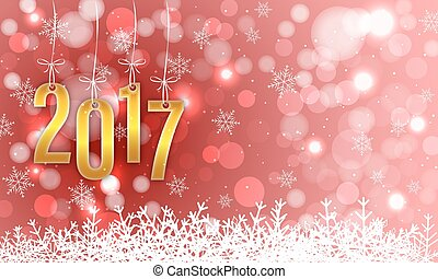 Happy New Year 2017 vector greeting card.