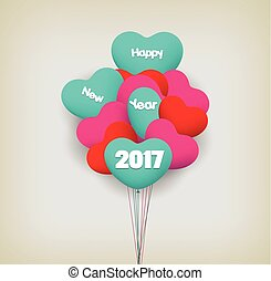happy new year 2017 with balloons